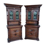 Matching Pair  Belgian Antique Leaded Glass Cabinets, Oak, 1920's