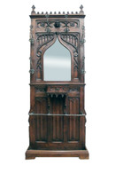 Antique Gothic Hall Stand, Hall Rack, Oak, 19th Century, Medieval