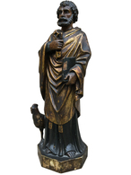 Antique Wooden Religious Statue of St. Peter the Apostle with Rooster