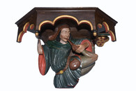 Whimsical Antique Corner Jester Wall Console, 19th Century