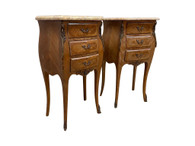 Pair of Antique French Night Stands, Marble Tops, Petite, 1950's #11653