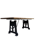 Vintage Industrial Dining or Work Table, Primitive, Iron & Wood