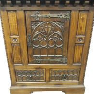 SOLD Antique French Gothic Cabinet, Oak, 1920's,  Nice Solid Cabinet