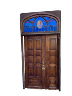 Outstanding French Gothic Door & Surround, Oak, Leaded Glass, 19th Century #11630