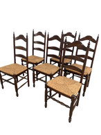Vintage French Country Ladderback Dining Chairs, Set of Six, Oak, #11418