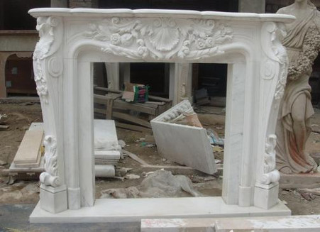 BEAUTIFUL FRENCH STYLE MARBLE FIREPLACE MANTEL, FEATURED IN WHITE MARBLE