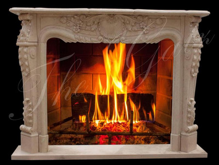 Majestic French Style Hand Carved Marble Fireplace Mantel, Egypt Beige.  Dimensions: 64.5 wide x 48.5 tall x 12 deep. Opening 42 wide x 36 tall. Egypt Beige.  Before purchasing, please contact us for availability and shipping quote.