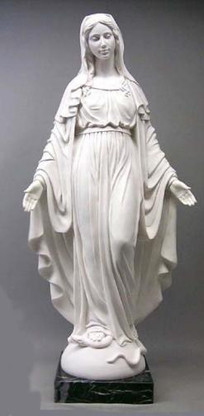 """HAND CARVED MARBLE CHURCH STATUE OF SACRED MARY, RELIGIOUS 55"""" TALL"""