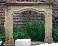 """SIMPLE HAND CARVED SANDSTONE FIREPLACE MANTEL RESEMBLES WOOD GRAINS, 45"""" TALL"""