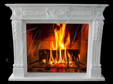 CLASSIC TRADITIONAL WHITE MARBLE FIREPLACE MANTEL