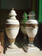 "PAIR OF HAND CARVED WHITE MARBLE VASES WITH LID AND BRONZE AND FLORAL BANDING, 36"" TALL"