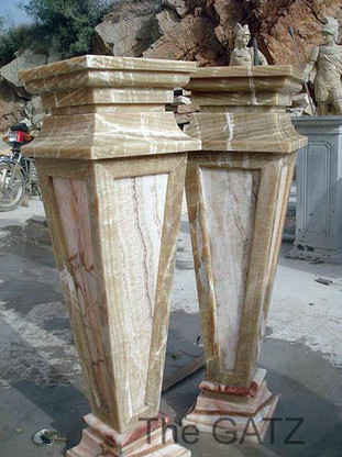 PAIR OF TALL TRIANGULAR SHAPED MARBLE AND ONYX PEDESTALS, TWO TONE COLOR This pair measures: 13 wide x 13 deep x 43 tall