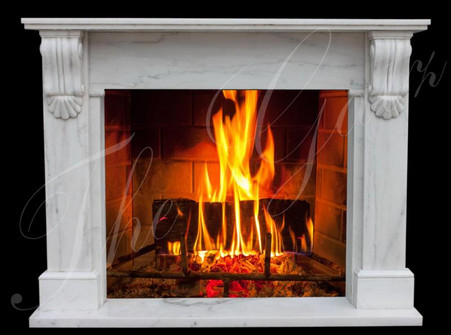 All hand carved marble fireplace mantel. This is one of our new designs, very simple but elegant. Color is premium white marble. Measures: 62.5 wide x 48.5 tall x 12 deep. Opening measures: 42 wide x 36 tall.