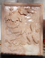 HAND CARVED MARBLE RELIEF PANEL WITH KOI FISH Measures: 39 tall x 31.25 wide.