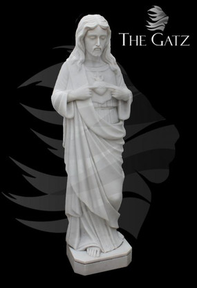 "HAND CARVED JESUS SACRED HEART STATUE, 48"" TALL, RELIGIOUS"