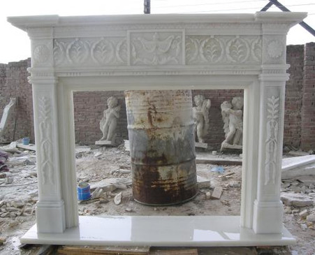 CLASSIC HAND CARVED MARBLE FIREPLACE MANTEL, WHITE MARBLE