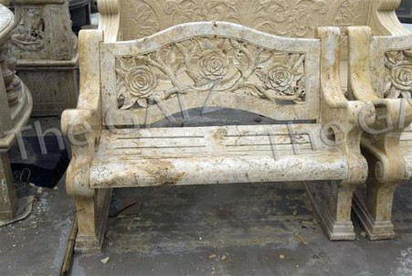 HAND CARVED MARBLE GARDEN BENCH, FLORAL CARVINGS Measures: 52 wide x 23.4 deep x 35 tall.