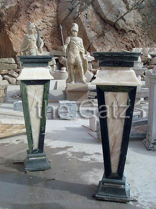 "PAIR OF TALL MARBLE AND ONYX PEDESTALS, TAPERED DESIGN IN ATTRACTIVE COLOR COMBINATIONS 43"" TALL"