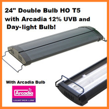 "24"" HO T5 Double Bulb fixture with Arcadia 12% and 6.5k Day-light Bulbs Included"