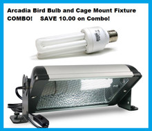 Arcadia Bird Cage Fixture with Bulb COMBO - Exclusive USA USE 110v Kit.
