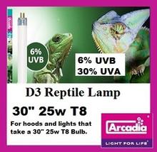 """Arcadia T8 6% D3 Reptile Lamp 30"""" 25 watt **New ODD size for Exo Terra Hoods"""