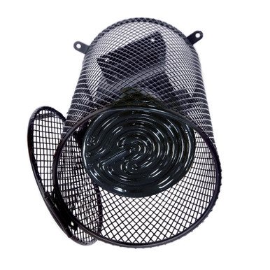 Ceramic heater and socket NOT included. Shows how cage protects heaters and bulbs.