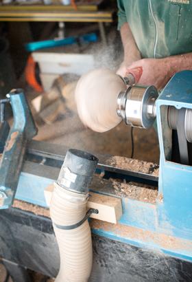 Sanding the bowl
