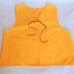 Gold Twill Patch Vest with Leather Tie