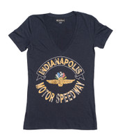 Ladies Wing Wheel and Flag V-Neck Slub