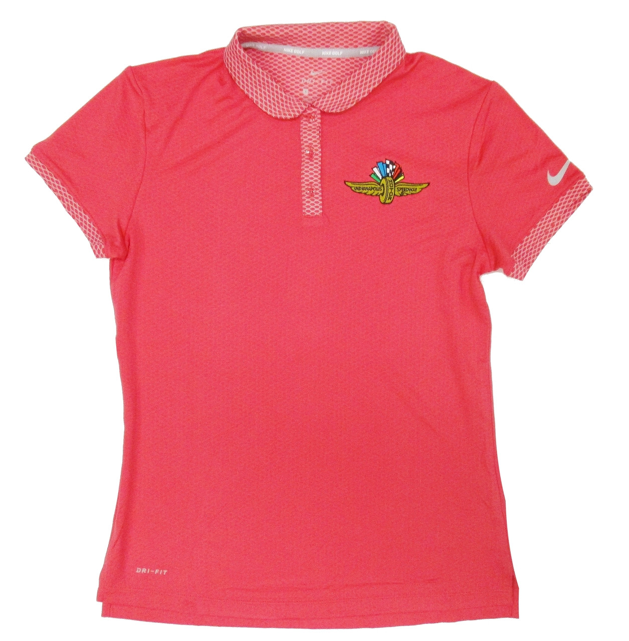 Ladies Wing Wheel And Flag Pink Dry Polo Indianapolis Motor