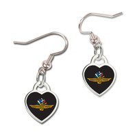 Wing Wheel and Flags Heart Earrings
