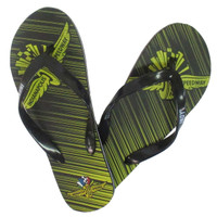 Wing Wheel and Flag Diagonal Stripe Flip Flops