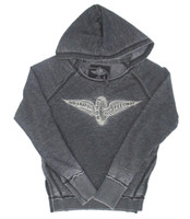 Ladies Wing and Wheel Raven Burnout Hoodie