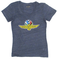 Ladies Wing Wheel and Flag Distressed Navy Triblend