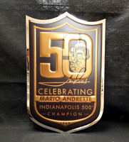 Mario Andretti 50th Anniversary 22x14 Chrome Sign