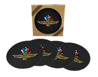 Wing Wheel and Flag Rubber Coasters 4pk