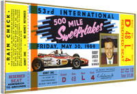 "Mario Andretti 20""x 9"" Canvas 53rd Indy 500 Ticket"