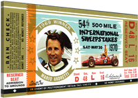 "Mario Andretti 20""x 9"" Canvas 54th Indy 500 Ticket"