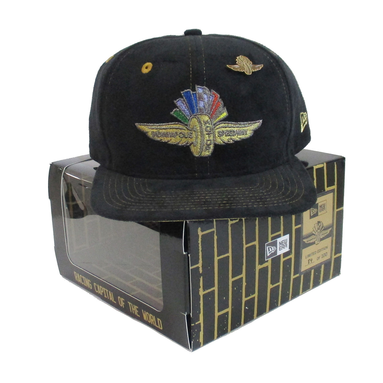 buy popular 9bbcc 9fb50 Wing Wheel and Flag Limited Edition Box Suede Lapel Pin New Era 9FIFTY Cap  - Indianapolis Motor Speedway INDYCAR