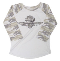 Ladies Wing Wheel and Flag Camo 3/4 Sleeve Tee