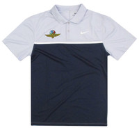 Wing Wheel and Flags Gray & Navy Dry Colorblock Nike Polo