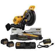 "120V MAX FLEXVOLT 12"" Dual Bevel Sliding Mitre Saw Kit w/ 2 Batteries (6Ah), Dual Port Charger and DCA120 Adaptor"