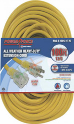 Extension cord, 100 ft., 12/3, single tap, lighted ends, yellow