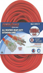 Extension cord, 100 ft., 12/3, single tap, lighted ends, red