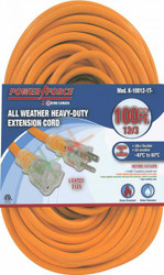 Extension cord, 100 ft., 12/3, single tap, lighted ends, orange