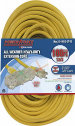 Extension cord, 100 ft., 12/3, tri-tap, lighted ends, yellow