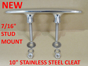 "Attwood 10"" Polished Stainless Steel Cleat for Dock Pier Boat - 66056"