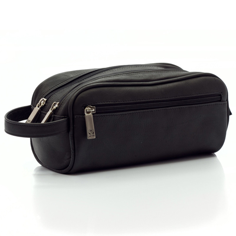 Muiska - Tomas - Classic Leather Double Zip Toiletry Bag in Black