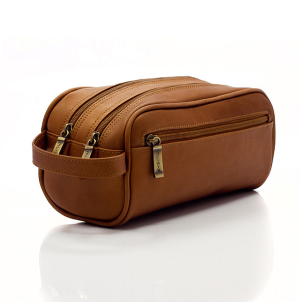 Muiska - Tomas - Classic Leather Double Zip Toiletry Bag in Saddle