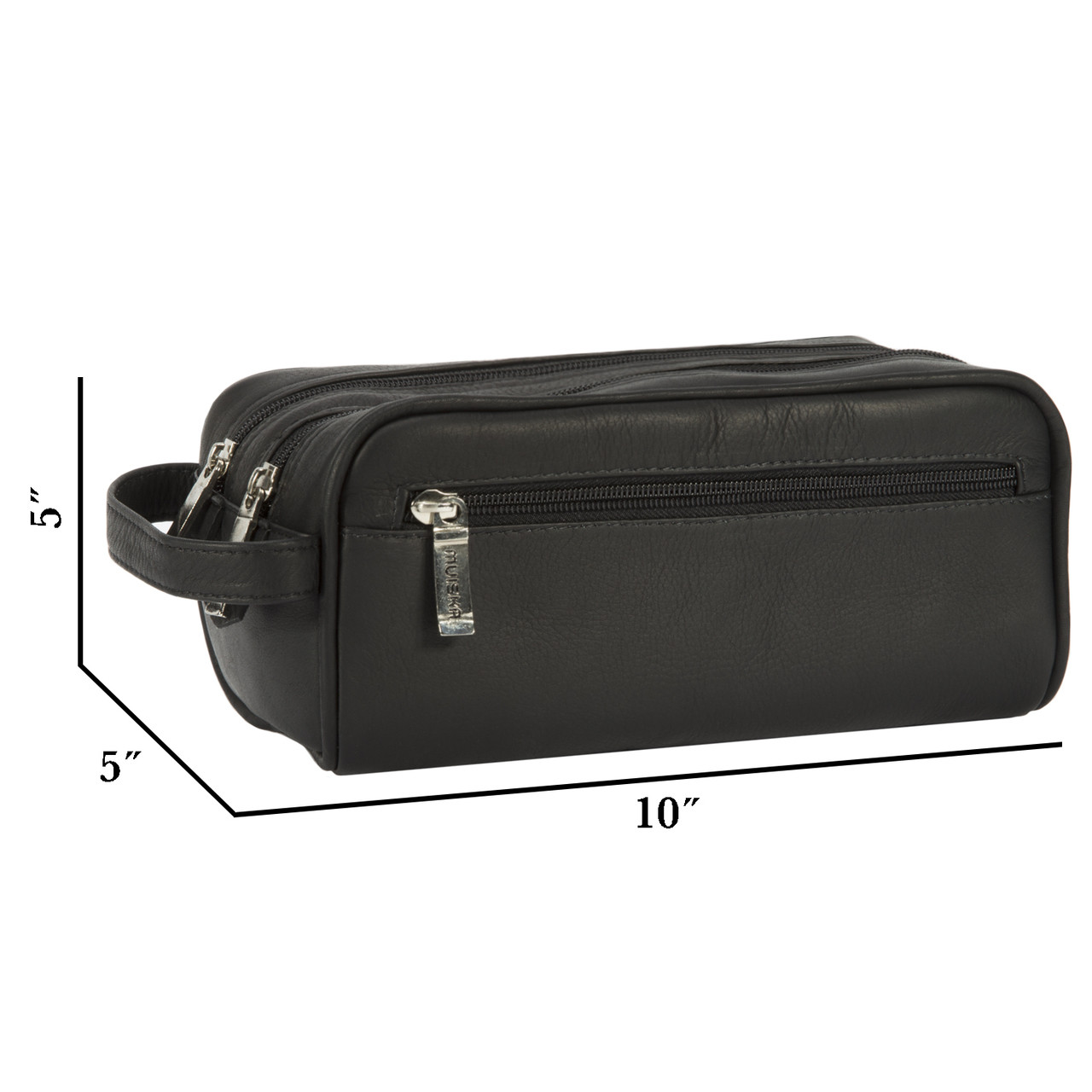 Muiska - Tomas -Leather Double Zip Toiletry Kit is compact yet surprisingly roomy